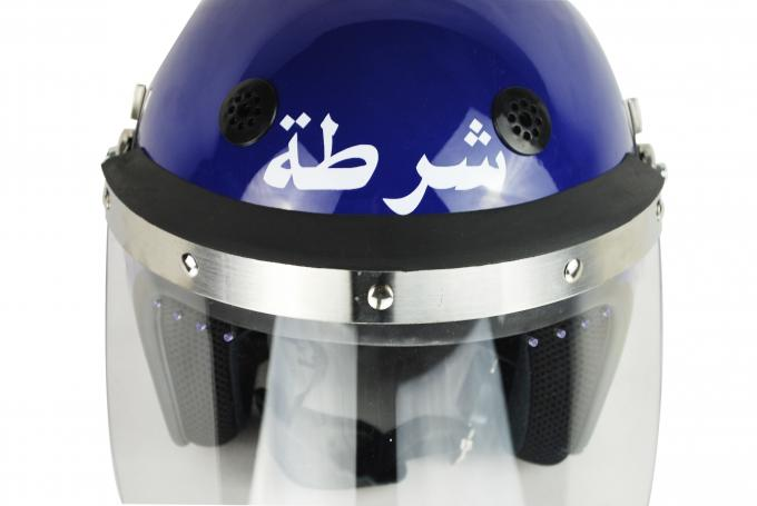 Police Riot Gear Helmets With PVC Chin Protector , Military Riot Helmet Navy Blue