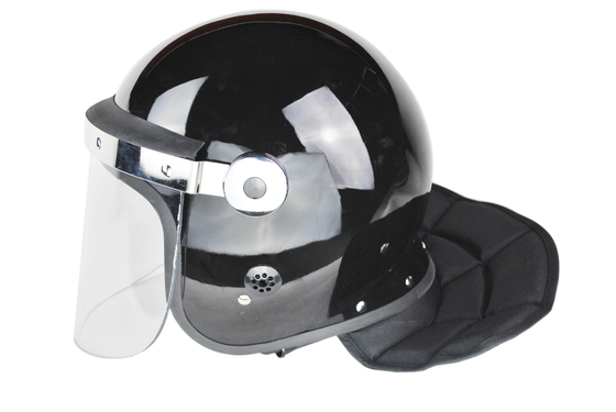 China Police Flat Visor Anti Riot Helmet / Combat Helmet With Face Shield Chin Protector factory