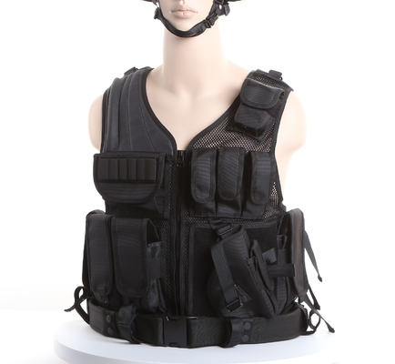 China Black Police Swat Vest With Pouches & Belt , Molle Military Tactical Vest factory
