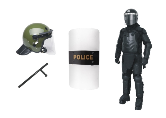China Olive Green Anti Riot Helmet Police Riot Shield Baton Equipment For Protection factory