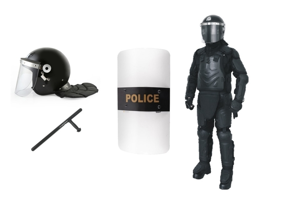 China Anti Riot Police Safety Equipment With Helmet / Shield / Full Body Armor Suit / Baton factory